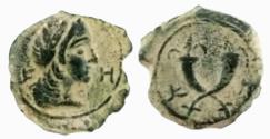 Ancient Coins - NABATAEA. Syllaeus and Aretas IV. 9-6 BC. Æ (14.3 mm, 1.9 g). Petra mint.