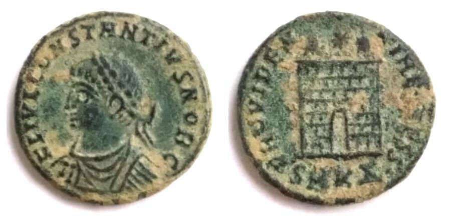 Ancient Coins - Constantine II campgate.Cyzicus mint,