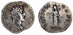 Ancient Coins - Marcus Aurelius, Caesar, 139-161, Denarius. Rome.