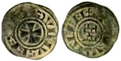 World Coins - CRUSADERS, Latin Kingdom of Jerusalem. Baldwin III. 1143-1163. BI Denier