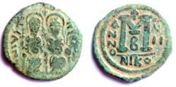 Ancient Coins - Justin II Follis - Nicomedia Mint