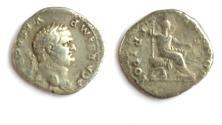 Ancient Coins - Vespasian, 69 - 79 AD, Silver Denarius, Emperor Seated