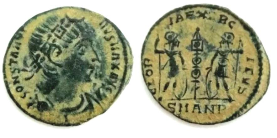 """Ancient Coins - Constantine I The Great AE """"GLORIA EXERCITVS Soldiers"""" Antioch"""