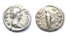 Ancient Coins - Faustina Sr, wife of antoninus Pius. 141 - 146 AD, Rome Mint. AR Denarius