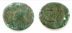 Ancient Coins - JUDAEA, Herodians. Herod IV Philip, with Tiberius. 4 BCE-34 CE. Æ (21mm, 6.41 g, 1h). Caesarea Panias