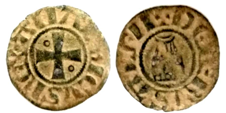 World Coins - AS FOUND, CHOICE QUALITY ,WELL CENTERED: CRUSADERS, Latin Kingdom of Jerusalem. Amaury. 1163-1174. BI Denier (17mm, 1.1g).