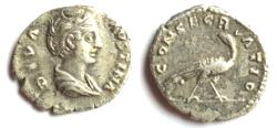 Ancient Coins - Diva Faustina Died 141 A.D. Denarius Rome Mint Good Fin