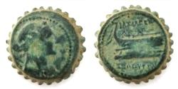 Ancient Coins - Seleucid Kingdom of Syria, Seleukos IV Philopator (187-175 BC) Serrated AE20mm. Antiochia.