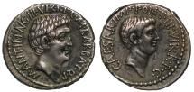 Ancient Coins - Mark Antony & Octavian, Silver Denarius