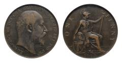 World Coins - Edward VII 1903 Penny, very rare open 3 in date variety