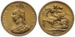 World Coins - Victoria 1888 M Sovereign DISH M9 first legend R4