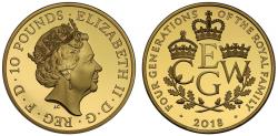 Ancient Coins - Elizabeth II 2018 gold proof Five Ounce, Four generations of the Royal Family