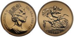 World Coins - Elizabeth II 1988 gold Five-Pounds MS68 DEEP PROOF LIKE