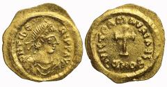 Ancient Coins - Maurice Tiberius, Gold Tremissis