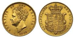 World Coins - George IV 1826 Sovereign, with 6 of date struck over smaller. Ex Bentley lot 956