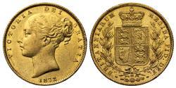 World Coins - Victoria 1872 M Sovereign, Melbourne Mint shield reverse