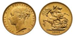 World Coins - Victoria 1884 M Sovereign, W.W. complete, St George reverse, short tail