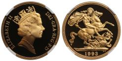 World Coins - Elizabeth II 1993 proof Two-Pounds PF69 ULTRA CAMEO