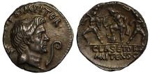 Ancient Coins - Sextus Pompey, Silver Denarius