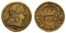 World Coins - Brazil 1734 gold 400-Reis