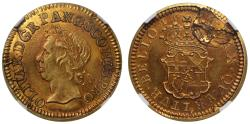 Ancient Coins - Oliver Cromwell 1656 gold Half-Broad PF63