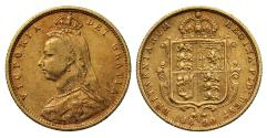 World Coins - Victoria 1890 Jubilee Half-Sovereign, plain truncation, high shield