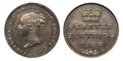 World Coins - Victoria 1868 cupro-nickel proof Quarter-Farthing CGS UNC 82