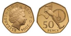 World Coins - Elizabeth II 2004 gold proof Fifty-Pence 4mn mile