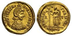 Ancient Coins - Justa Gratia Honoria (sister of Valentianian III), Gold Solidus, Ravenna