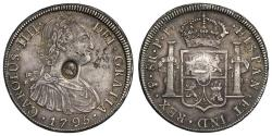 World Coins - George III oval countermark on Bolivia 1795 PP 8-Reales, Potosi mint