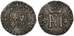 World Coins - Scotland, Mary Queen of Scots with Francis II of France, 1560, silver Testoon
