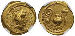 Ancient Coins - Julius Caesar, Gold Aureus Ch XF 5/5 - 4/5