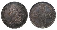 World Coins - George II 1746 proof Shilling, older bust, graded PF64
