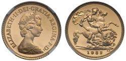 World Coins - Elizabeth II 1982 proof Half-Sovereign PF68 ULTRA CAMEO