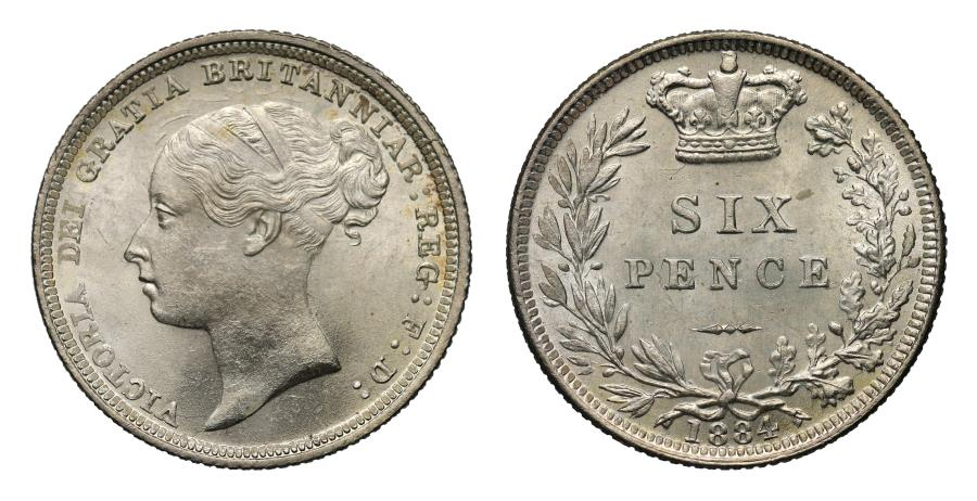 World Coins - Victoria 1884 Sixpence, young head