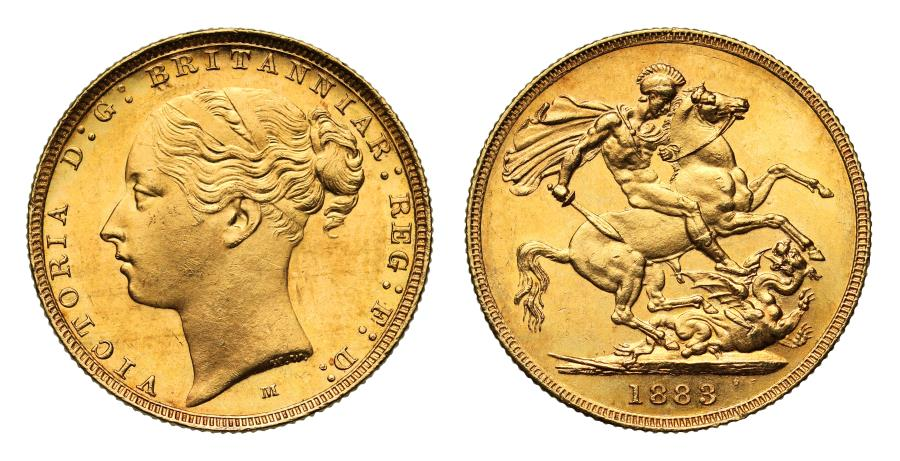 World Coins - Victoria 1883 M Sovereign, Melbourne, WW raised, short tail, no stops BP