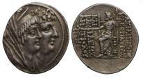 Ancient Coins - Seleukid, Kleopatra Thea & Antiochos VIII, Silver Tetradrachm