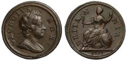 """World Coins - George I 1717 """"dump issue"""" copper Farthing"""