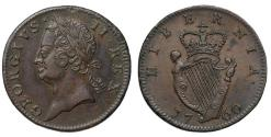 World Coins - Ireland, George II 1760 copper Halfpenny
