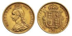World Coins - Victoria 1891 Jubilee head Half-Sovereign Sydney DISH S509 high shield R4