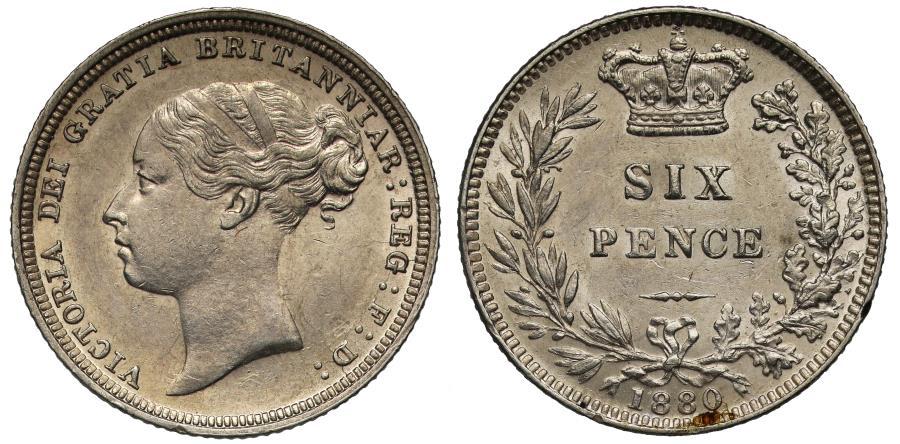World Coins - Victoria 1880 Sixpence