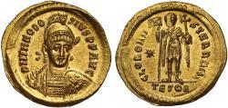 NGC MS, 3/5, 4/5 Theodosius II, Gold Solidus, Thessalonica