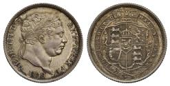 World Coins - George III 1819 Shilling, 9 struck over a rotated 9