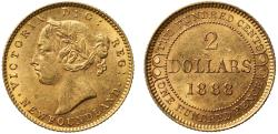 World Coins - New Foundland, Gold 2-Dollars, 1888.