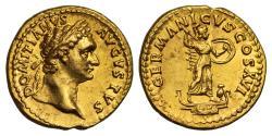 Ancient Coins - Domitian, Gold Aureus, Mint of Rome, NGC Ch AU