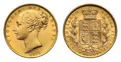 World Coins - Victoria 1871 Sovereign, shield reverse, die number 30