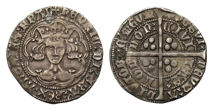 World Coins - Henry V Scowling Bust Groat, with mullett at centre of breast, ex Stewartby