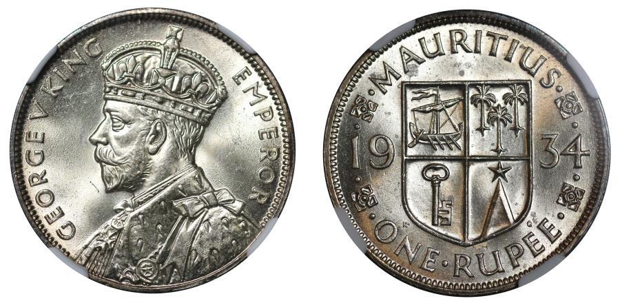 World Coins - Mauritius, Rupee, 1934.
