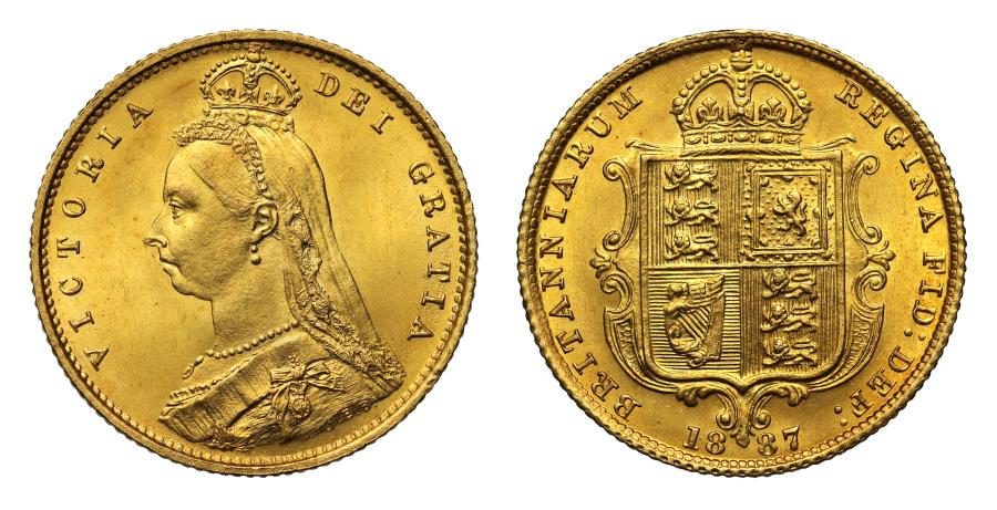 World Coins - Victoria 1887 Half-Sovereign, Imperfect J obverse