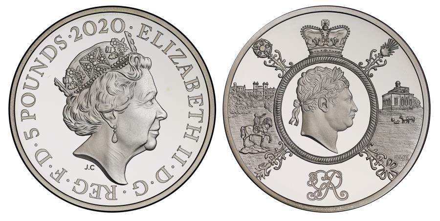 World Coins - * Elizabeth II 2020 silver PF70 UCAM Piedfort Five-Pounds Celebration of George III